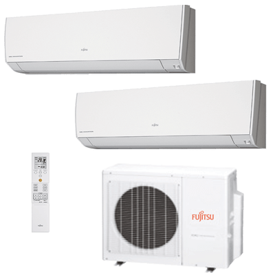 Ar Condicionado Bi Split Fujitsu Inverter Hi Wall 2x 9000 Btus Condensadora 18000 Btus 220v Quente e Frio ASBG09LMCA ASBG09LMCA AOBG18LAC2