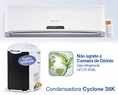 Ar Condicionado Springer Split Hi Wall Up - Gás refrigerante HFC R-410A.